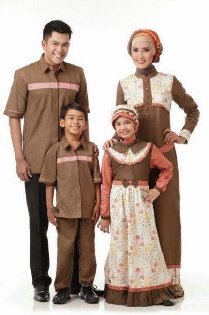 Baju Seragam Keluarga Kombinasi Cokelat Orange