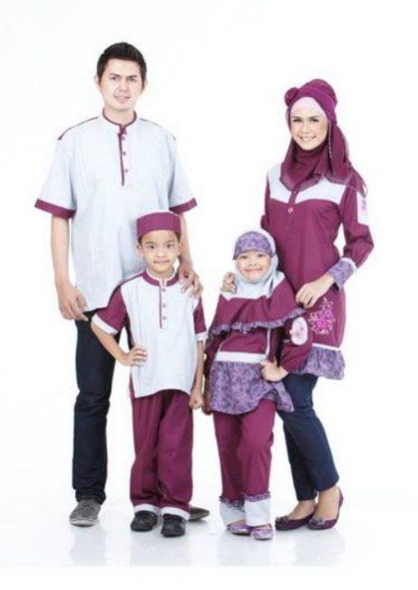 Baju Seragam Keluarga Kombinasi Putih Ungu